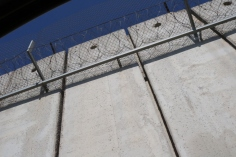 The wall, with some sky, on our way from Jerusalem to cross the first checkpoint towards Ramallah.